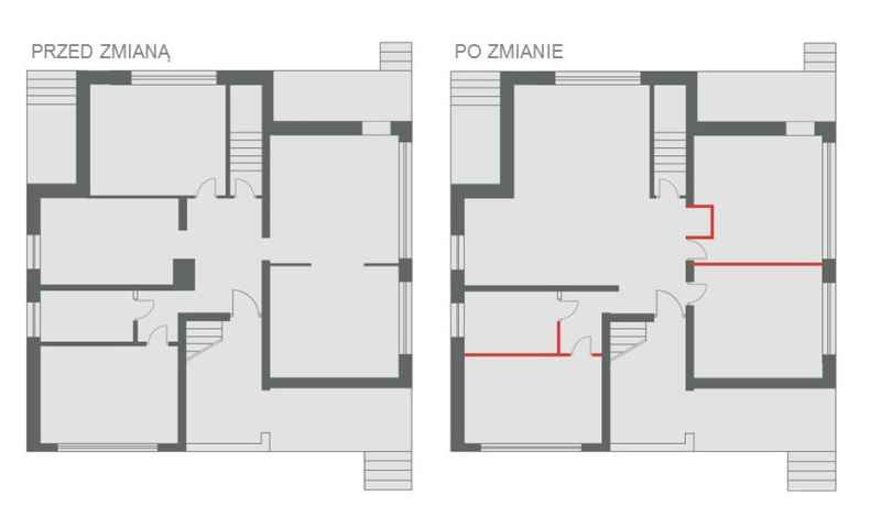 Zmiana układu mieszkania. Przed przebudową – jeden pokój dziecięcy oraz duża jadalnia z salonem. Po zmianie - dwa pokoje dziecięce oraz salon z aneksem jadalnym
