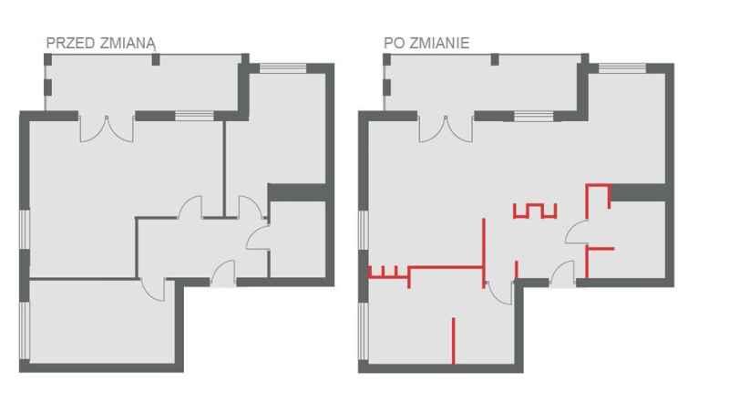 Rzut mieszkania przed zmianami w układzie ścian oraz po zmianach - wydzielony kącik do pracy w sypialni, połączenie jadalni z kuchnią oraz powiększenie łazienki